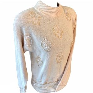 CeZanne Vintage 80's Rose Silk Sweater M